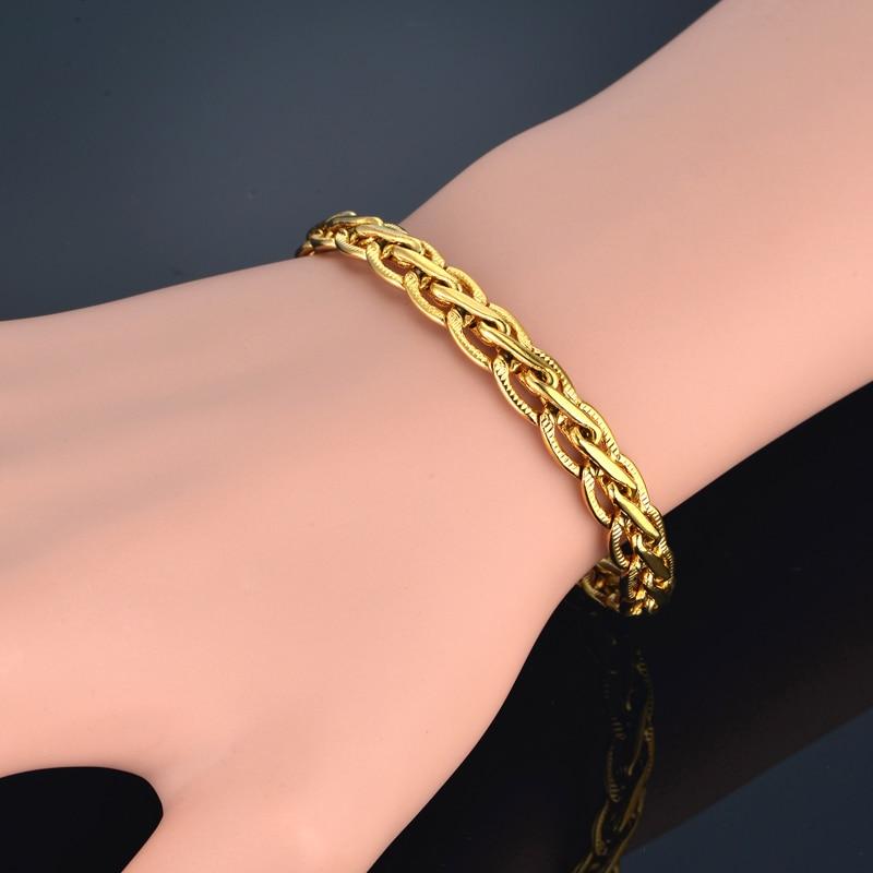 Браслет для мужчин и женщин, ювелирное изделие, Золотой/Серебряный цвет, тисненая плоская цепочка, браслет, оптовая продажа, мужской женский...