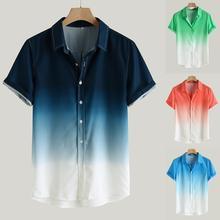 2019 플러스 사이즈 남성 여름 느슨한 블라우스 통기성 짧은 소매 감기 칼라 그라데이션 camisa masculina chemise homme hawaiian