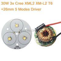 DIY פנס לפיד 3 * Cree XML2 XM-L2 גבוהה כוח LED פולט מגניב לבן ניטראלי לבן חם לבן 50 ממ + 12 v 26 ממ 5 מצבי נהג