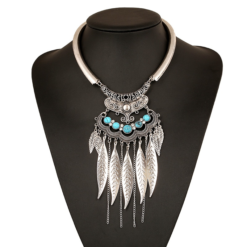 Фото Женское ожерелье с подвеской в виде листика богемное цыганское чокер мощное
