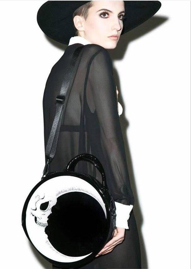 القمر الهيكل العظمي رئيس جولة قطري حزمة حقيبة يد القمر مستديرة ساحرة الظلام المعادن القوطية حقائب الأسود تأثيري حقائب
