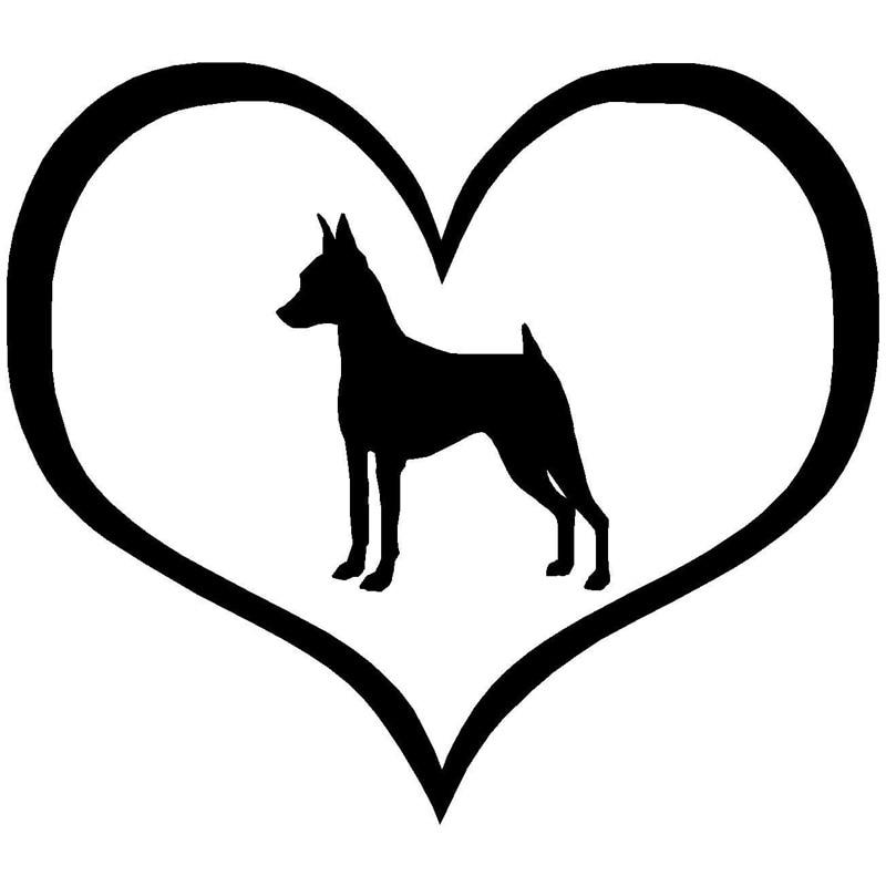 10.9*9.5CM Mini Pinscher chien coeur voiture autocollant Animal décoratif fenêtre verre voiture accessoires noir/argent C6-0178