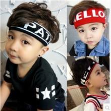 Children Running Sports Headband Wide Stripe Letters Large Elastic Headband Kid Adult Sweat Hair Ban