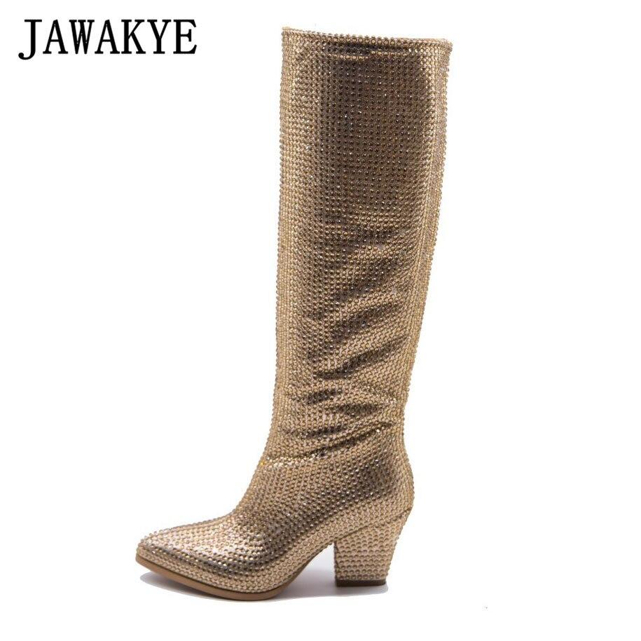 JAWAKYE designer cristal pointu orteil genou bottes hautes Sexy étrange talon or argent Bling bling dames strass longues bottes femmes