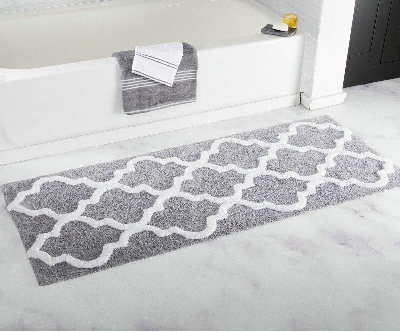 Tapis de bain antidérapant antidérapant   Long, motif de fleurs géométriques, microfibre, pour salle de bain, baignoire douche, paillasson de sol à carreaux, 45x120CM