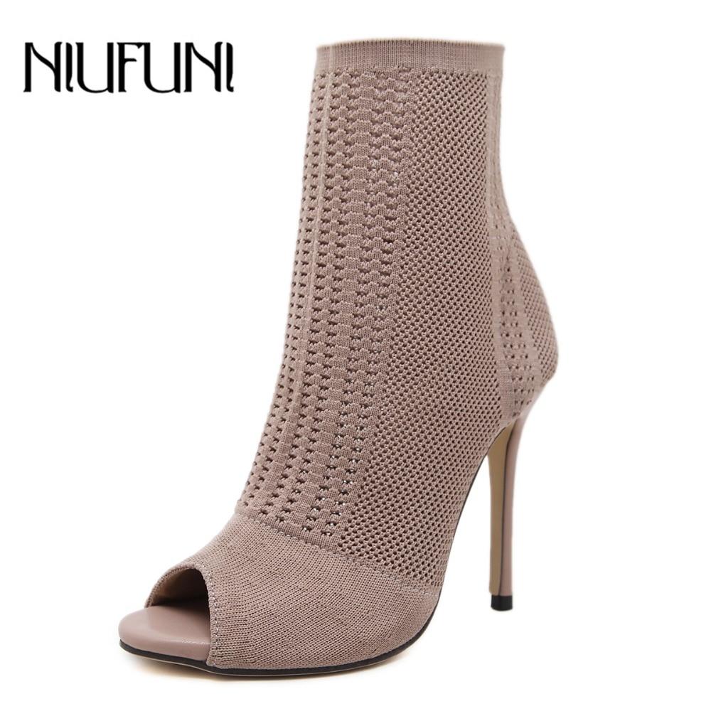 NIUFUNI-أحذية نسائية بكعب عالٍ ، جوارب متماسكة مفتوحة من الأمام ، أحذية ربيعية وخريفية مثيرة بكعب رفيع