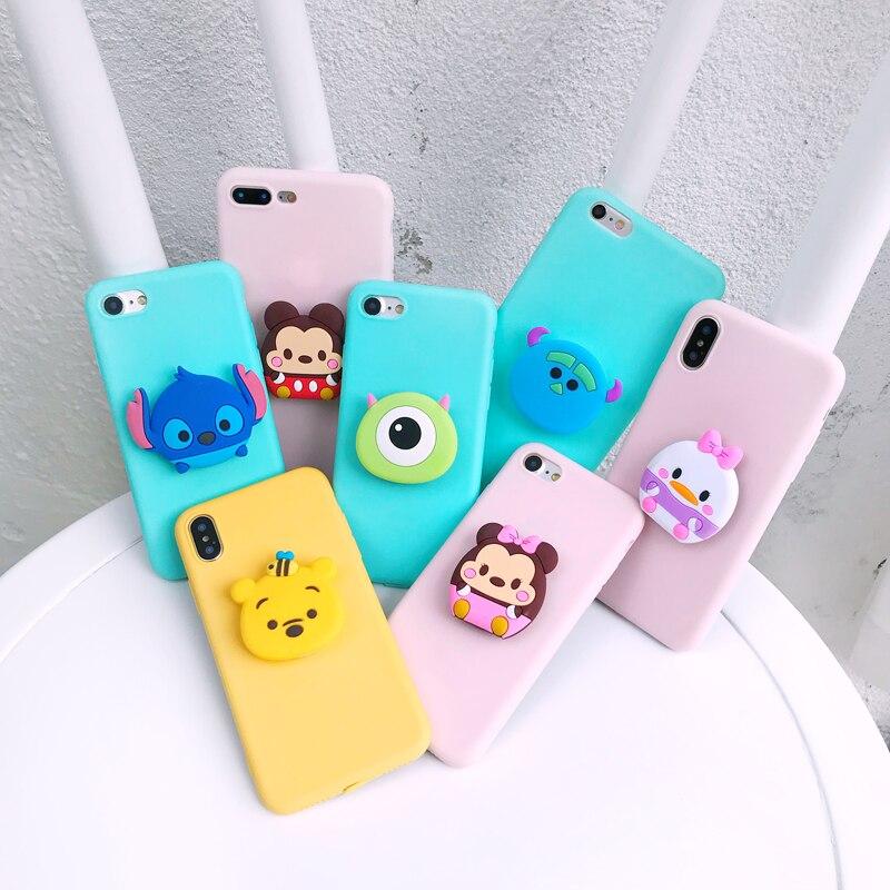 Para Samsung A6 A7 A8 A9 J4 J6 Plus M A10 30 40 50 70 80 Caso Minnie Anel Aperto soft Case Para iphone 5 7 8 Mais Xs XR MAX