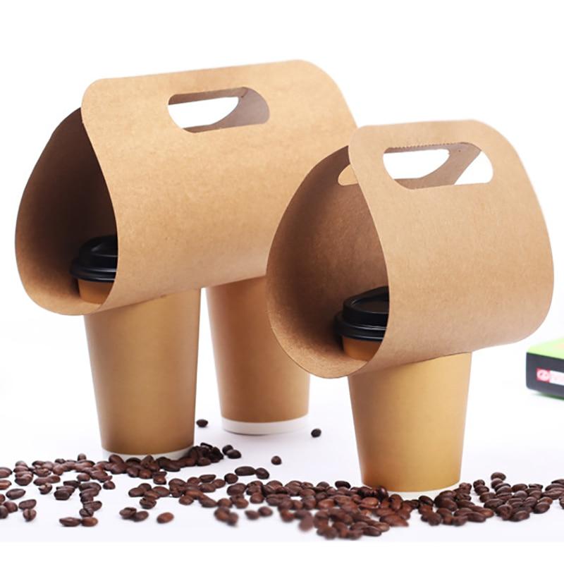 Soporte desechable para taza de papel Kraft, bebidas ecológicas, soporte para ASA Base para café, té y Taza de leche, embalaje para bebidas para llevar, 50 Uds