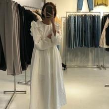 Femmes automne bulle coton blanc longue robe à volants manches longues en vrac Vintage élégant taille haute robes col rond