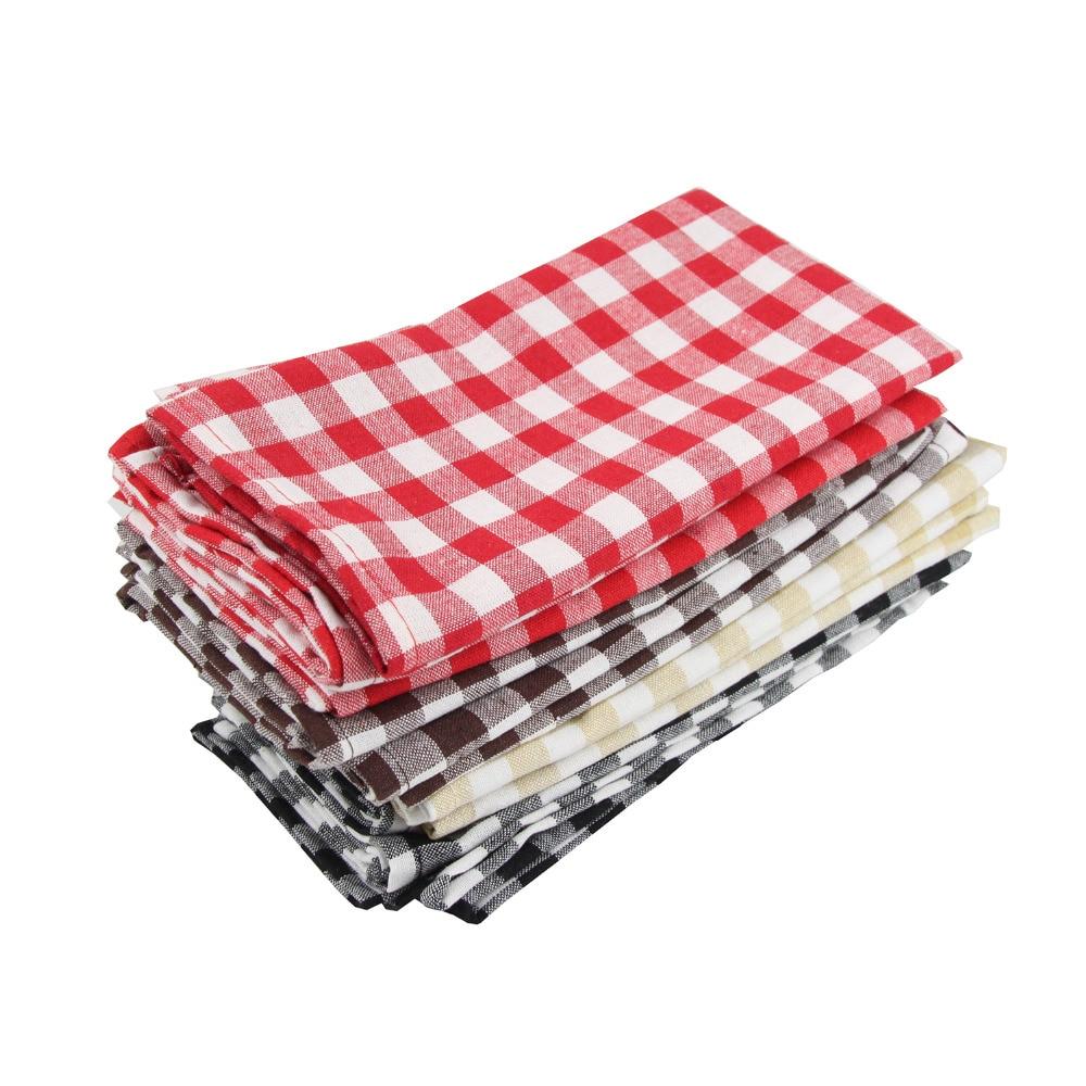 Set of 12 pcs Cloth Napkins 40x40cm cotton linen Napkins placemat soft dining table napkins mat check table Napkin fabric