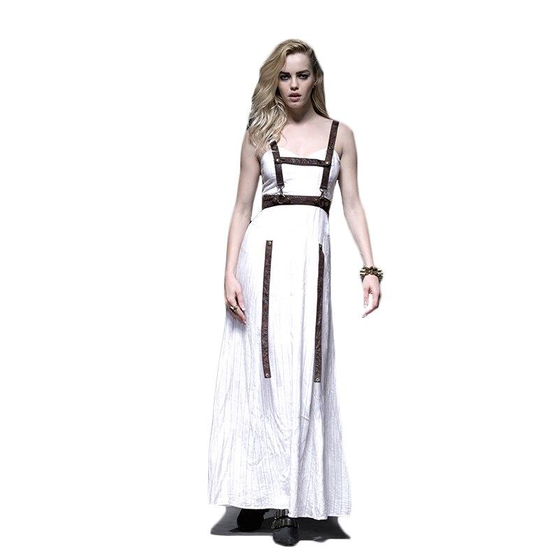 Vestidos Vintage sin tirantes de cintura alta sin mangas de verano con patrón gótico vestido largo estampado a chorro blanco Steampunk