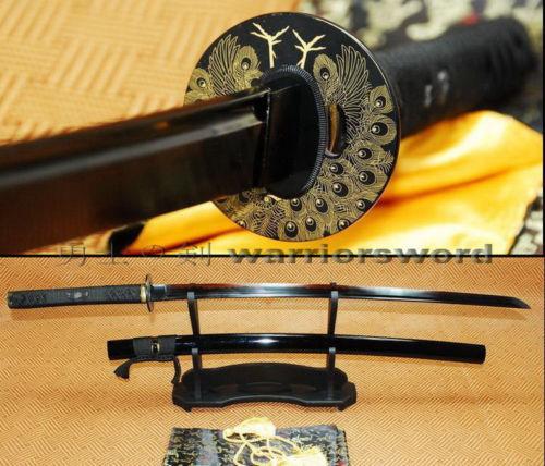 Hoja negra rojo Hamon KATANA 1095 arcilla templada espada afilada batalla Lista # B740