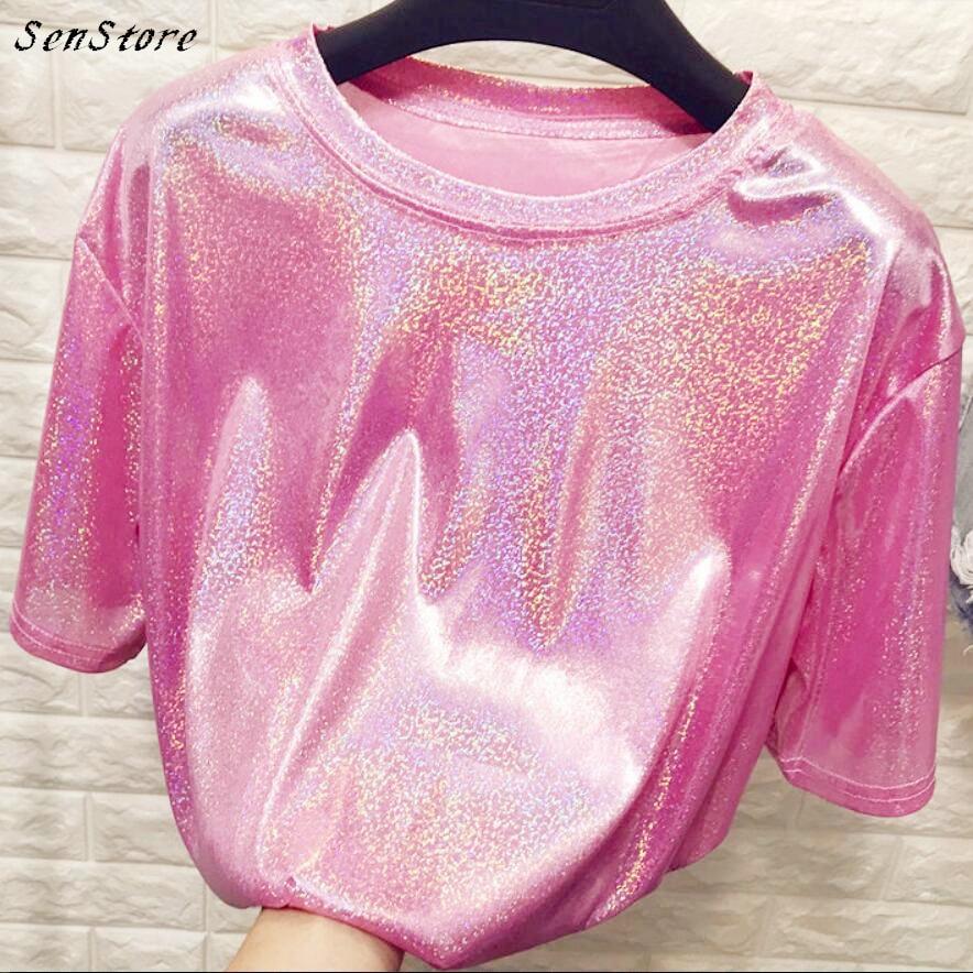 Neue sommer retro stil stilvolle helle seide frau tops shiny lose kurzarm t-shirt sexy club ästhetischen harajuku frauen t-shirt