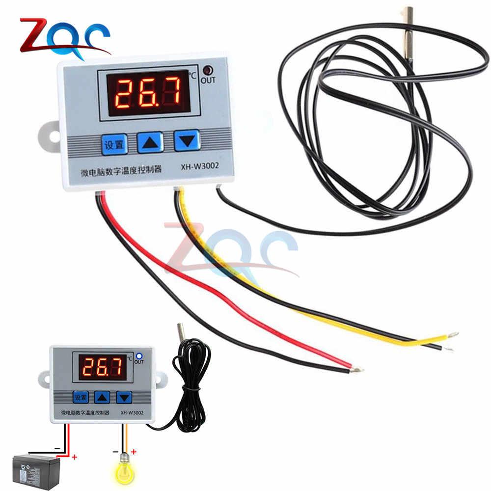 Xh W3002 Dc 12v 24v Ac 110v 220v Digital Led Temperature Controller 10a Thermostat Control Switch With Probe Sensor W3002 Temperature Instruments Aliexpress
