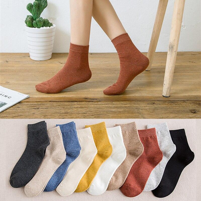 Meias de algodão de outono e inverno, 10 peças = 5 pares, meias femininas quentes, coloridas, meias casuais, femininas, tricotadas, confortáveis, especiais, imperdível