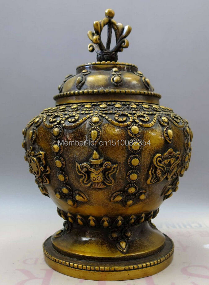 "12 ""China Brass Cobre Feng Shui Suerte Babao botellas jarra jarra Olla"