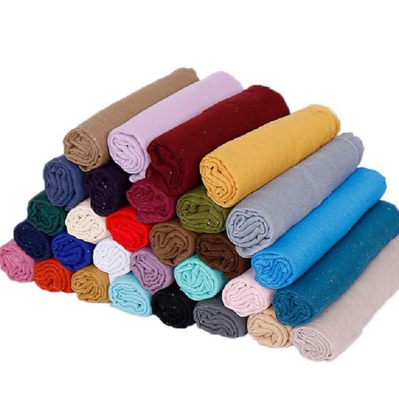 Wholesale Muslim Hijab 10pc Glitter Plain Thin Shawl Scarf Turbans Cotton Scarves Headscarf Islamic Shimmer head scarf 30colors