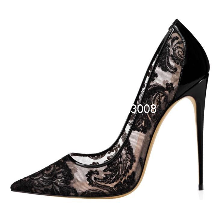 سوبر عالية الكعب الأبيض مضخات الدانتيل حذاء نسائي ذو كعب عالٍ جوفاء أشار تو أحذية الزفاف حجم كبير 46 أسود مثير الكعوب فستان أحذية