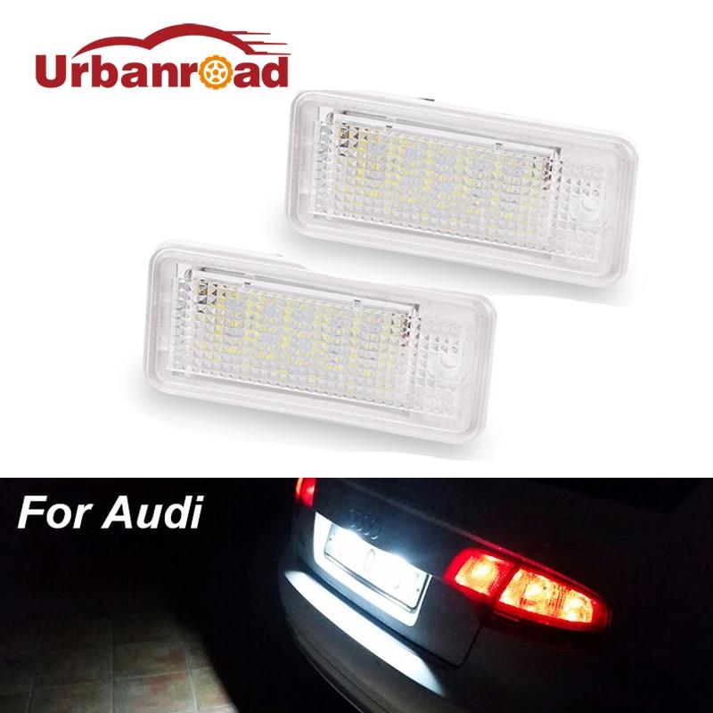 2pcs 6000k Led Number License Plate Light 18SMD 3w Led Car Number Plate For Audi A4 A6 C6 A3 S3 S4 B6 B7 Rs6 Q7 S6 A8 S8 Rs4