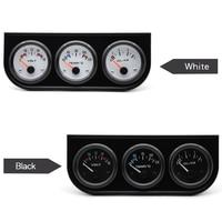 Water Temp Oil Pressure Volt Gauge 52mm 3 in 1 Triple Gauge Kit Black Bezel Black/White Face Color With Temp & Pressure Sensor