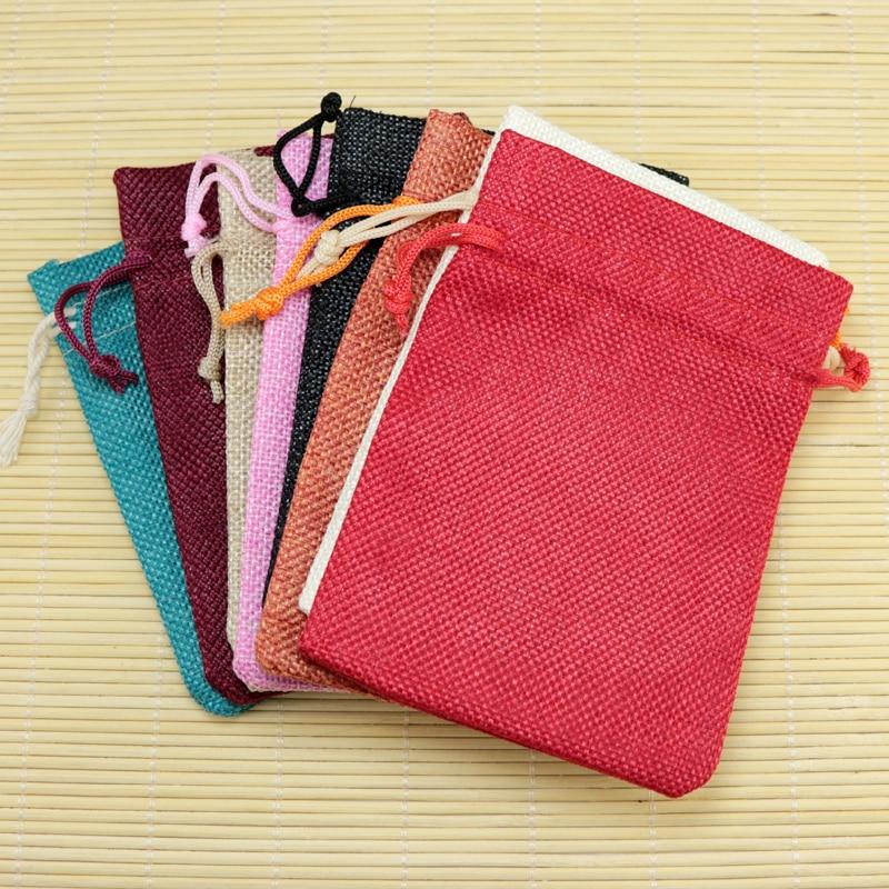 (2000 unids/lote) bolsas de yute con cordón, bolsas de yute personalizado, bolsas de regalo con cordón, bolsas de regalo, bolsas con logotipo personalizado, bolsas de yute de 10x14cm