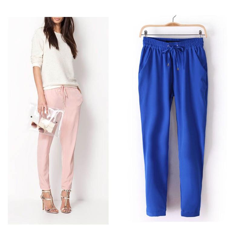 2019 Hot Sale Chiffon Pants Summer Women Pants Casual Harem Pants Drawstring Elastic Waist Pants Plus Size Women Trousers