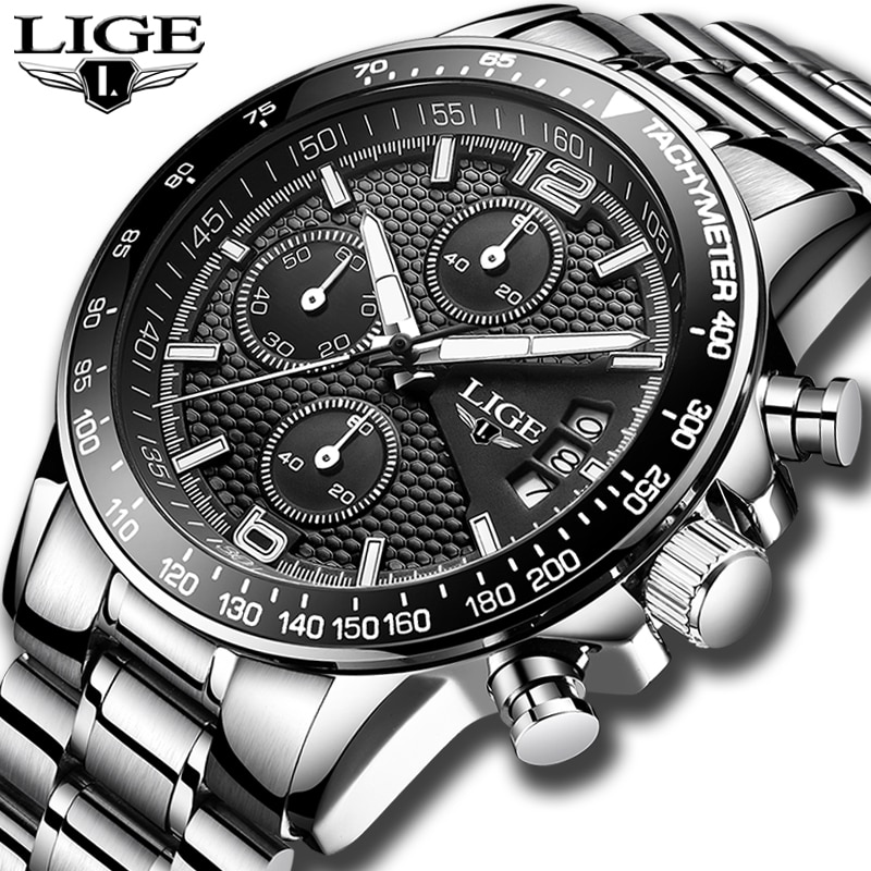 Мужские часы LIGE, брендовые Роскошные спортивные водонепроницаемые кварцевые часы с секундомером, мужские Модные деловые часы, 2019