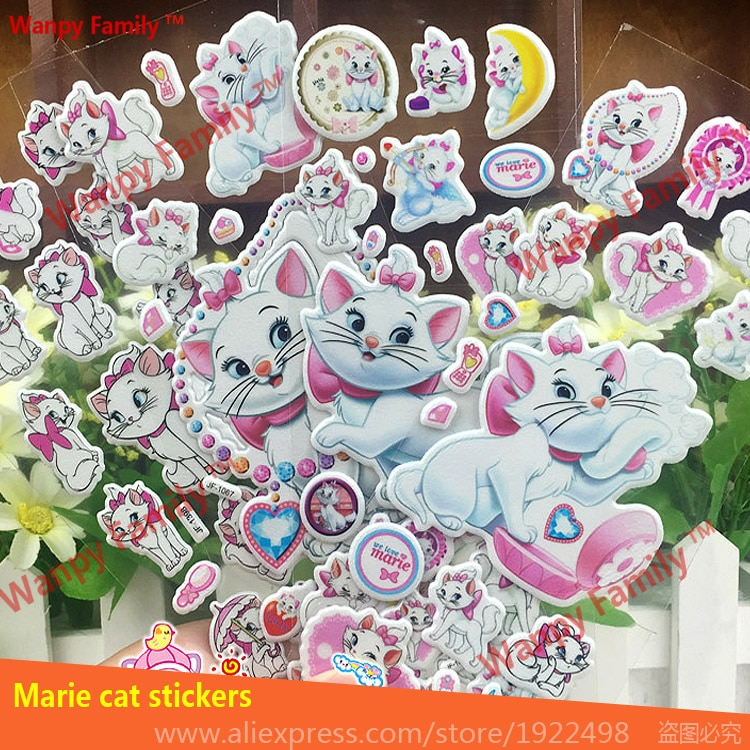Наклейки на стену, милые наклейки на стену с изображением кота Marie, 10 листов/партия, наклейки для детской комнаты, модный Декор, Классические ...