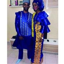 H & D uomini vestiti africani blu agbada copertura del vestito shirt pantaloni 3 pezzi set no cap dashiki robe ricamo modello africano PH3307
