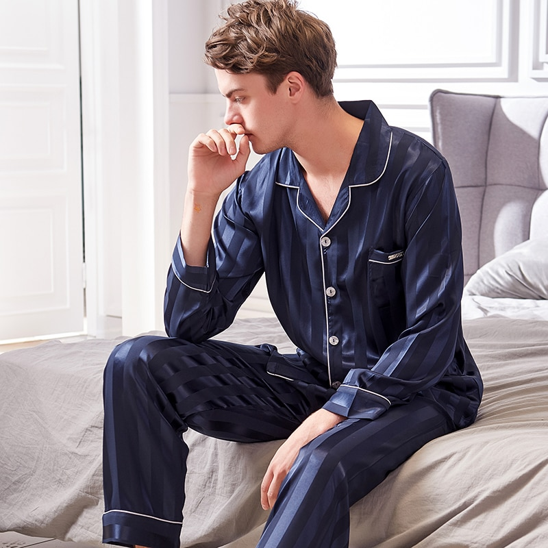 Искусственный шелк пижамы мужские 2020 осень новинка шелковистая лед шелк одежда для сна мужская с длинным рукавом мода полосатая пижама комплекты X9004