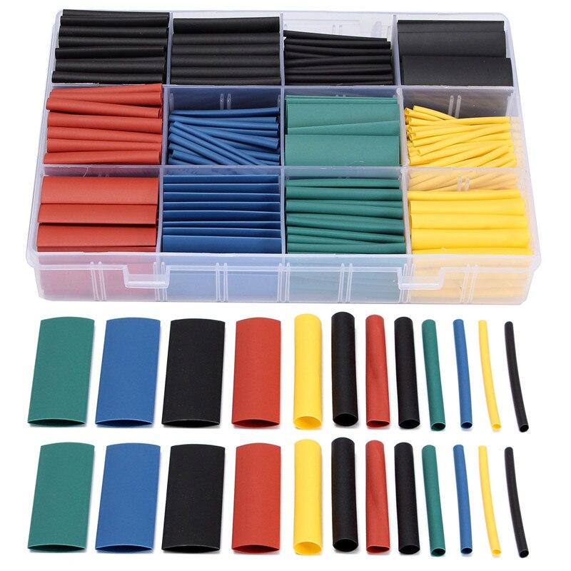 530 Uds 45mm 21 poliolefina aislamiento Tubo termorretráctil poliolefina Cable tubo manguito Kit de envoltura con caja 8 tamaños 5 colores