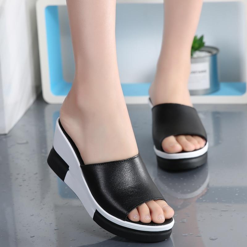 AARDIMI Summer Genuine Leather Women Platform Wedges Shoes Women's Flip Flops Leather Outside Slides Slippers Women Creepers