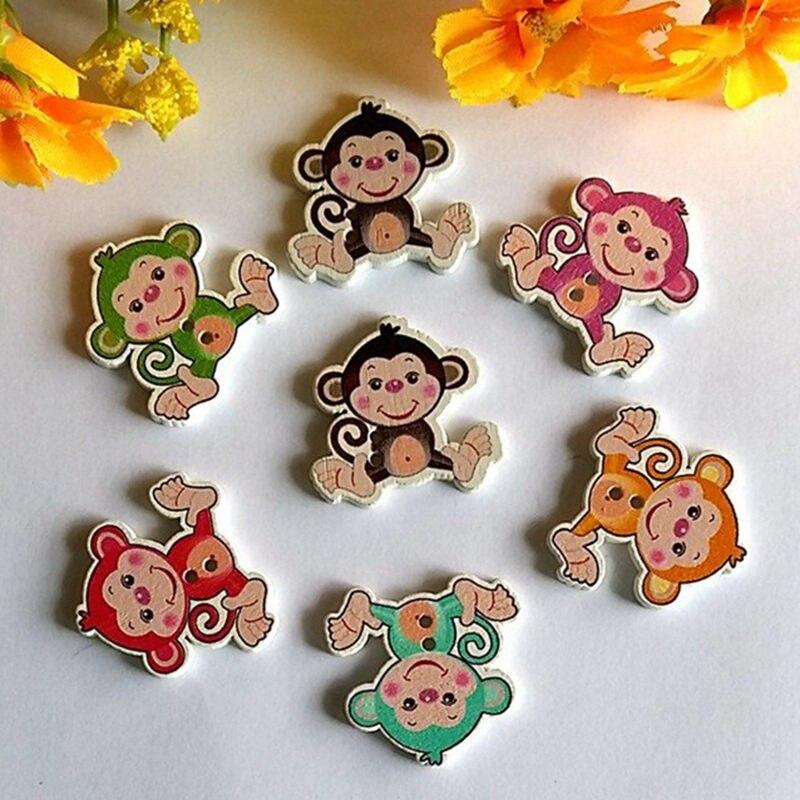 20/50 pçs/lote 28x29 milímetros Aleatória Mista Multicolor Macaco 2 Buracos De Madeira botões de Costura Botões decorativos Contas scrapbooking