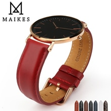 MAIKES cuir véritable remplacer Bracelet à la mode rouge femmes Bracelet de montre 12/13/14/16/17/18/19/20 pour dame bande montre Bracelet de montre