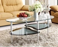 free shipping toughened glass tea table the oval double tea table