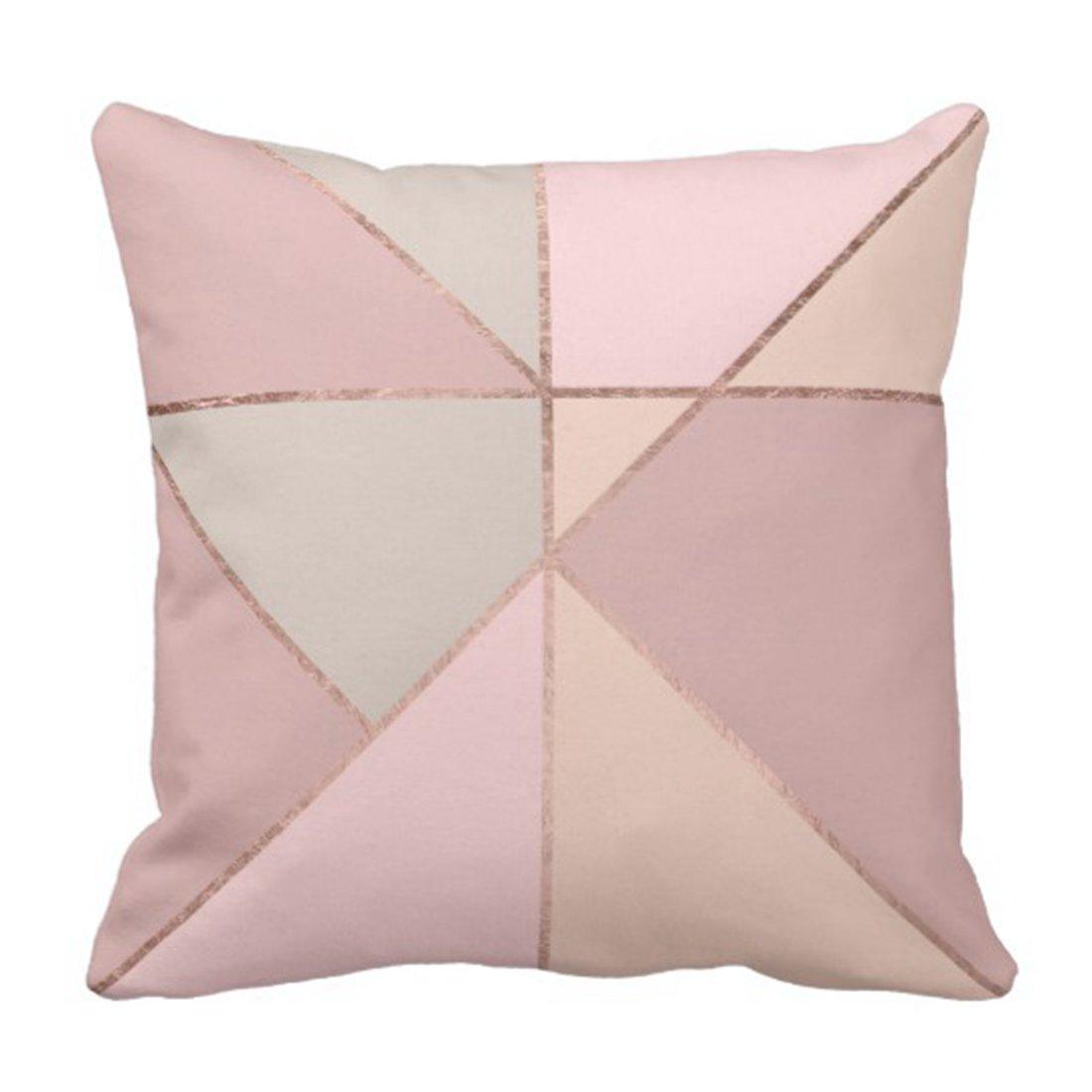 Funda de almohada Rosa geométrico Rosa moderna dorado melocotón Tan rubor Color bloque Coral funda de almohada hogar cuadrado funda de almohada