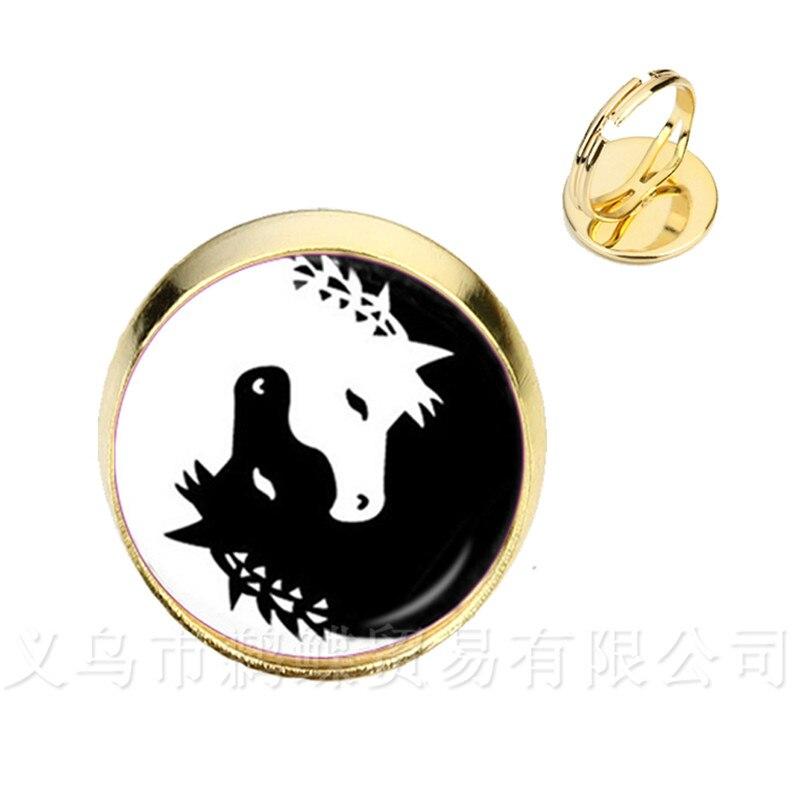 Dos Caballos Yin Yang cúpula de cristal anillos símbolo joyería rústico Natural estilo clásico que simboliza la armonía traer buena suerte joyería