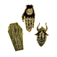 punk pin hands of doom satan sees all coffin pins gothic enamel pins punk badges lapel brooch jackets backpack accessories
