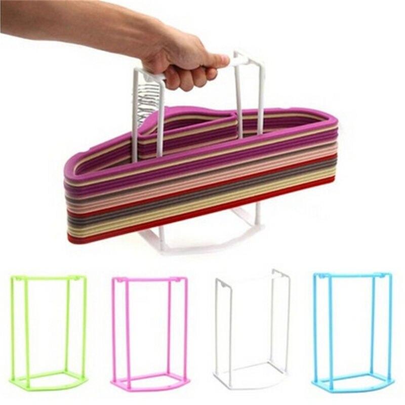 Colgador de ropa de 4 colores apilador soporte de plástico organizador de almacenamiento estante de clasificación de viaje hogar herramientas de baño estantes