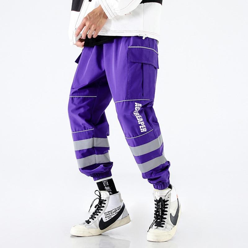 Reflective Strip Patchwork Cargo Harem Pants Men Harajuku Hip Hop Casual Baggy Sweatpants Streetwear Hipster Trousers