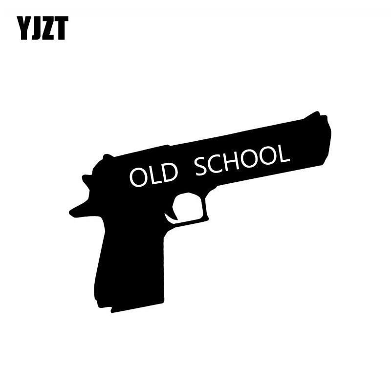 Yjzt 12.5cm * 9.7cm velha escola arma perigo vinil decalque personaily carro adesivo preto prata C10-01090