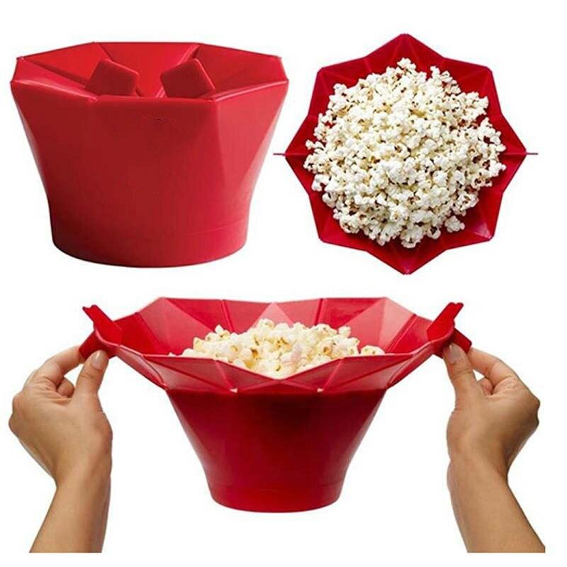 2018 Новый Попкорн микроволновая печь Складной Красный силикон Высокое качество кухня легко инструменты DIY Попкорн ведро чаша чайник