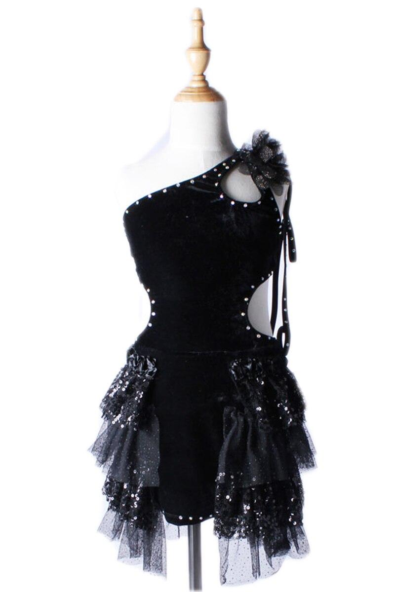 Children 's Latin Dance Dress Children' S Women Black Professional Competition Clothing Dress Girls Sequins Dress