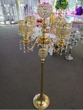 Centro de mesa de cristal de 135 cm de altura, decoración de boda de oro, ceremonia, evento, decoración del hogar, pista de plomo