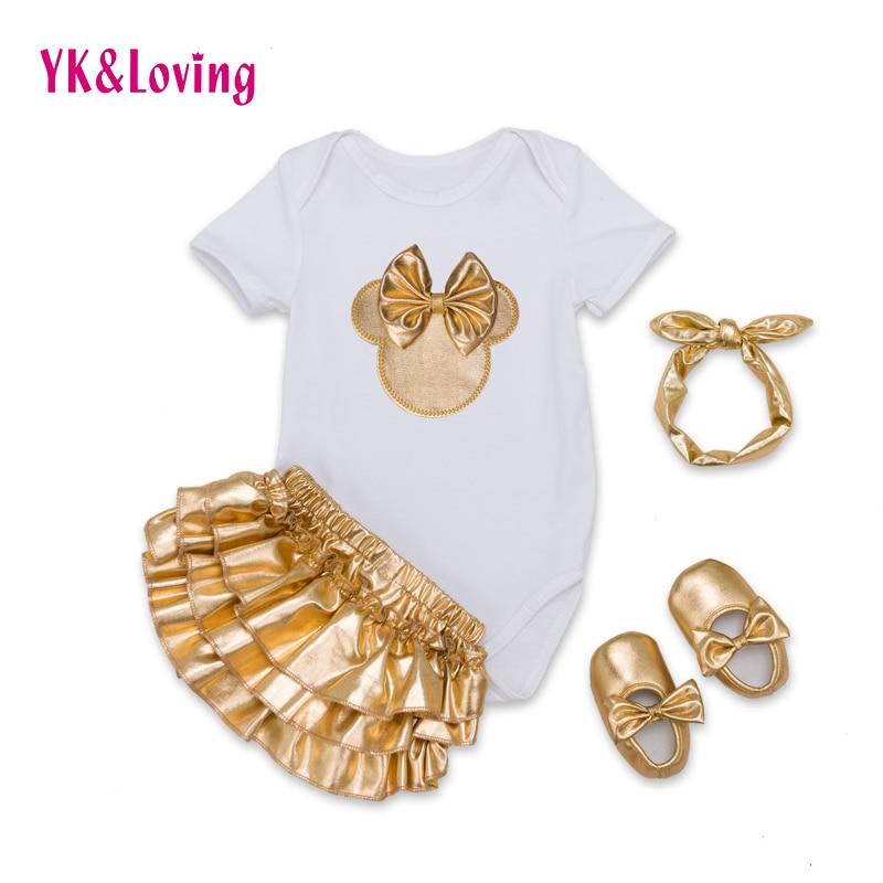 Infant Brand Baby Clothing Sets Cotton Baby Girl Short Sleeve 4Pcs Bodysuit+Gold Ruffles Bloomers+Headband+Shoes Newborn