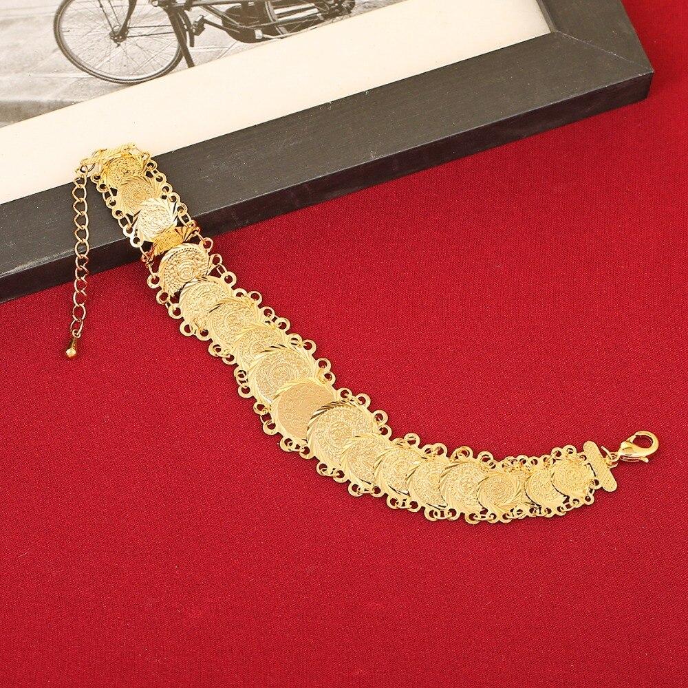 Nueva pulsera nupcial para boda moneda joyería pulsera Color oro árabe regalo nupcial Medio Oriente Turquía Egipto africano