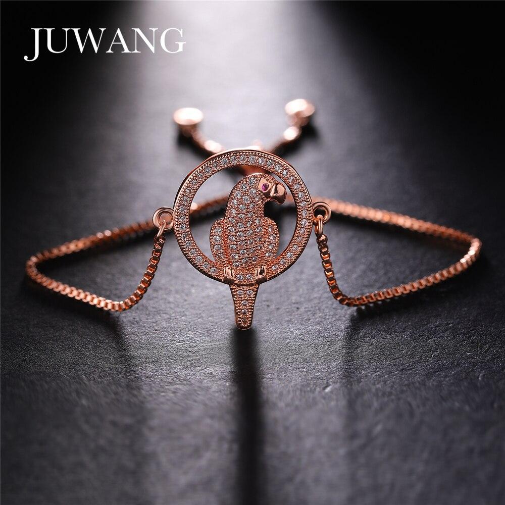 JUWANG 2020, nueva pulsera de moda, brazaletes de joyería, estilo loro, Color dorado y plateado, pulseras de cadena de cobre para mujer, para regalos de cumpleaños