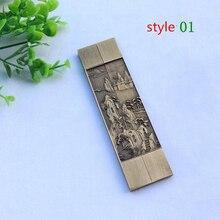 Paar Chinese Traditionele Cultuur Kalligrafie Allerlei Stijl Zuiver Koper Zhenchi Familie Decoratieve Metalen Handwerk