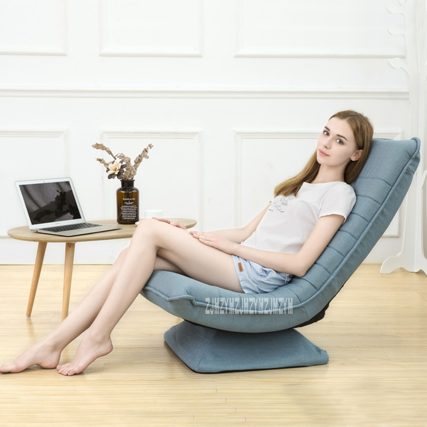 X3 moderno Simple diván Lounge 5-engranaje ajuste de acero marco perezoso sofá 360 grados de rotación sala de estar lavable silla plegable