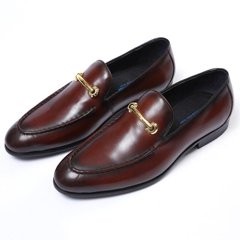 Moda Zapatos de graduación de punta estrecha marrón oscuro Zapatos de vestir para niños zapatos de boda de cuero genuino zapatos de fiesta para hombre
